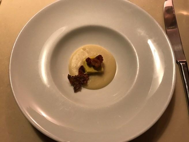 Amuse bouche: fava bean purée, cardoon flan and Jerusalem artichoke chips