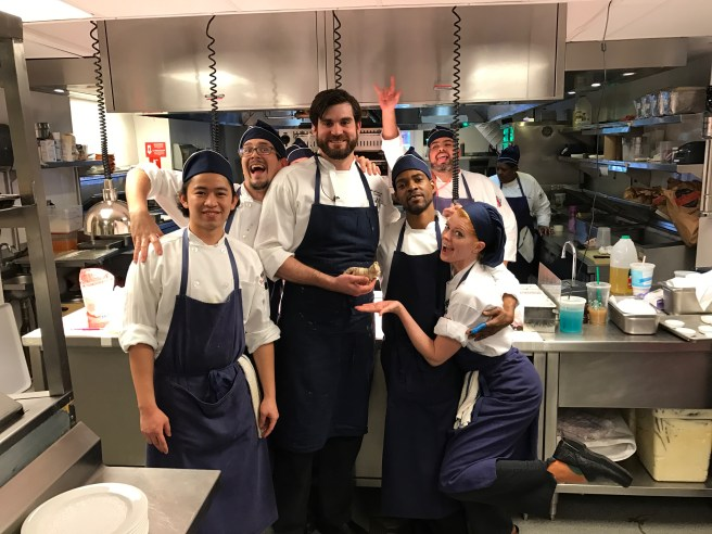 All the kitchen staff posed with Frankie