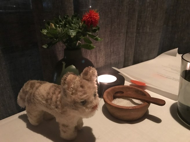 Frankie checked out the table flowers, salt and candle