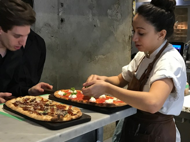 last garnishes on pizzas going out