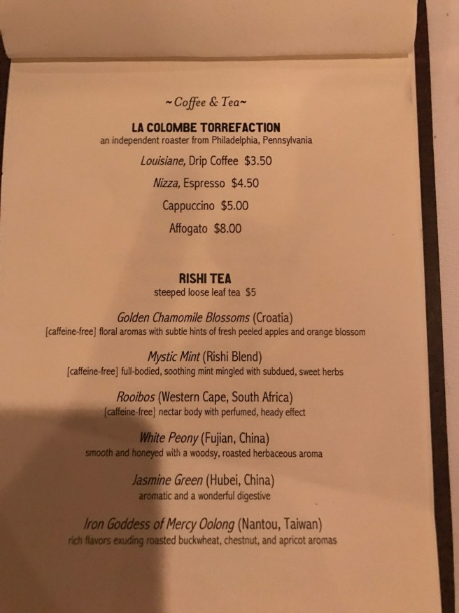 coffee and tea menu