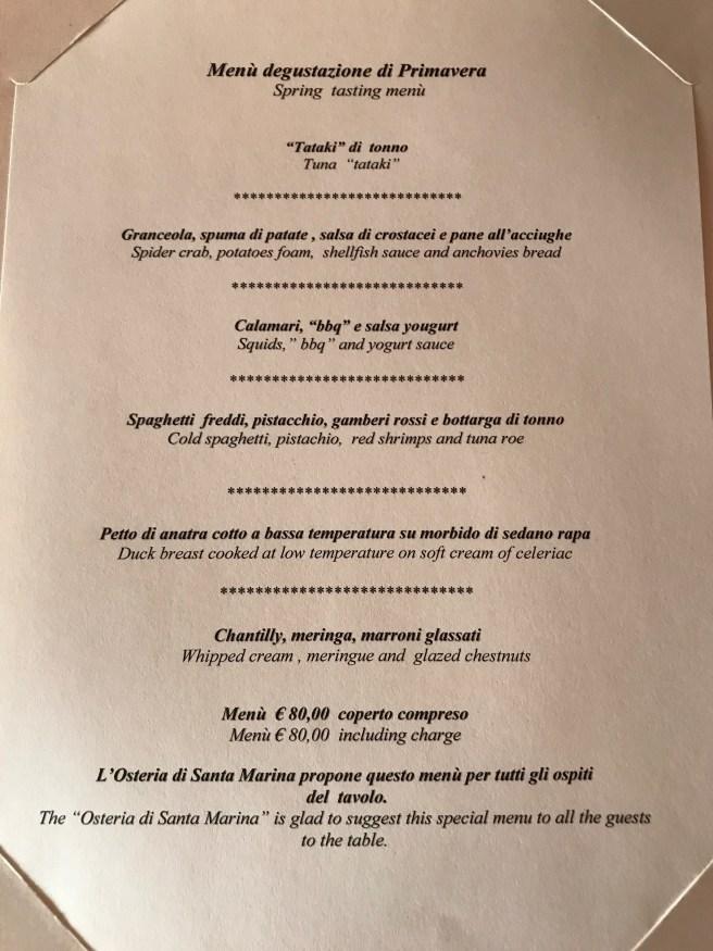Spring tasting menu