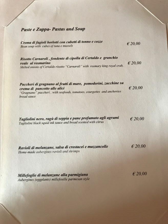 pasta and soup menu