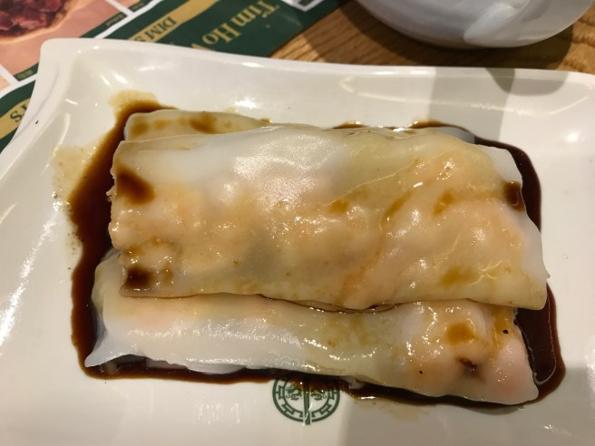 Steamed rice roll with shrimp and Chinese chives