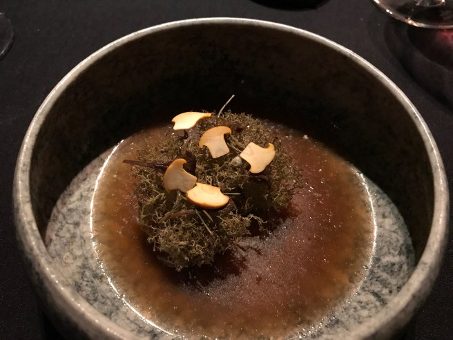Lichen with cream that has been heavily reduced and caramelized in the pan, preserved pine shoots, broth from the chanterelle mushroom seasoned with spruce vinegar