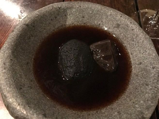 Sea urchin cake and kolof roots broth