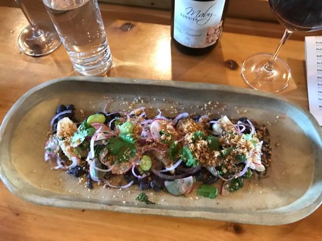 Grilled Squid: Fava bean, black beans,breadcrumbs, chili oil