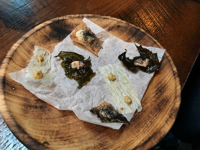 Snacks: kelp and smoked roe/bacalao and mussels/caviar and ash
