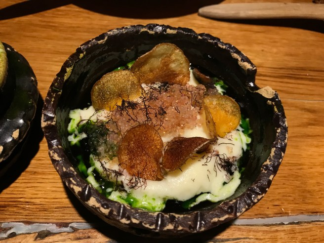Lumpfish roe was with chervil, pickled onion, sea truffle and fermented potatoes