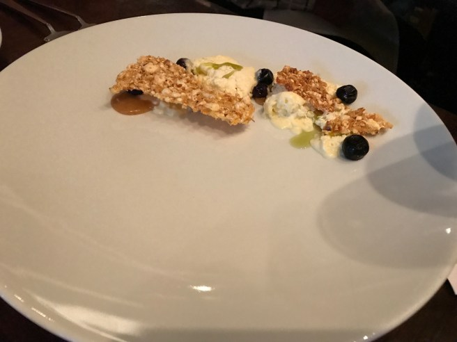 Salted buttered popcorn semifreddo with blueberries, caramelized lime curd and kafir