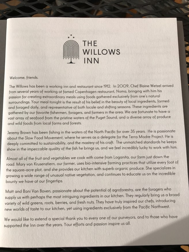 about The Willows Inn