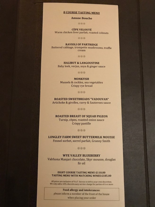 8 course tasting menu