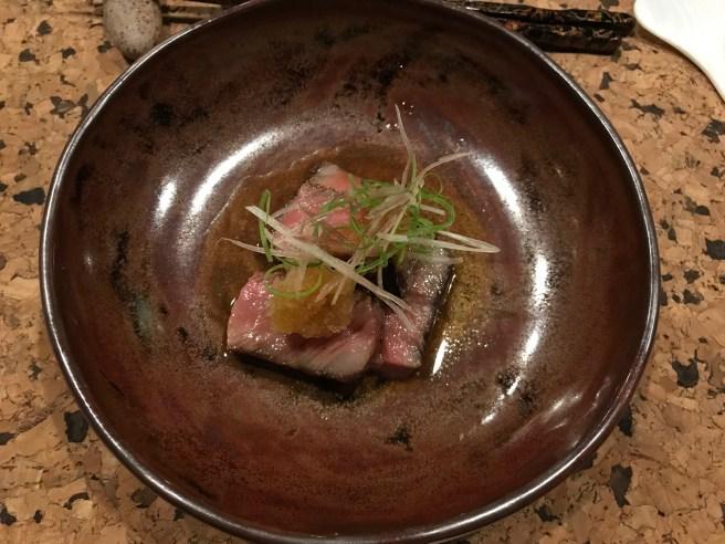 Seared A5 beef with daikon, kosho, ponzu and myoga