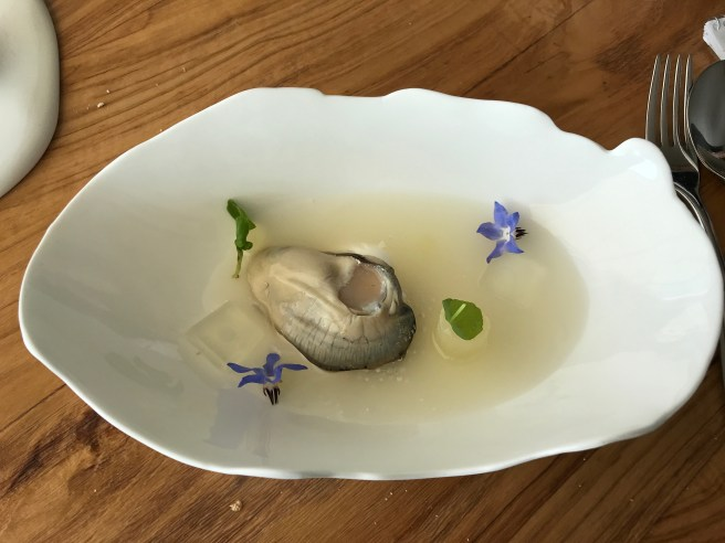 Gillardeau's Oyster with cream of shallot, declination of Williams pear
