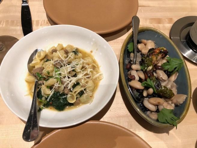 Second course: Orecchiette, turkey fennel sausage, rapini, chile and Charred octopus, Rancho Gordo beans, swiss chard, fennel, salmoriglio