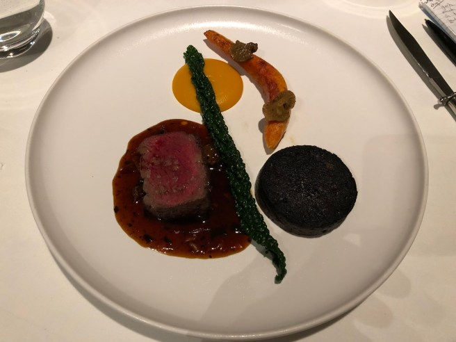 Sika venison, crown prince pumpkin, black pudding, pickled walnuts, chocolate