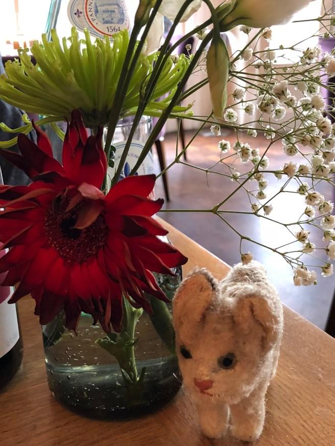 Frankie enjoyed the table flowers
