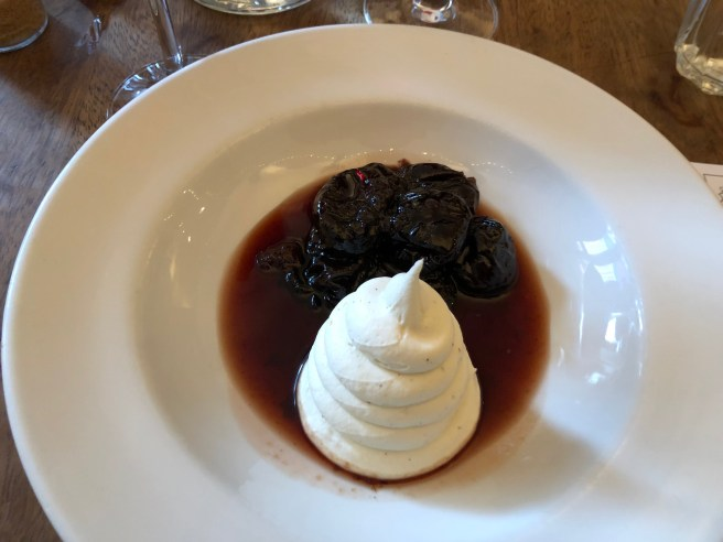Red wine prunes and vanilla mascarpone