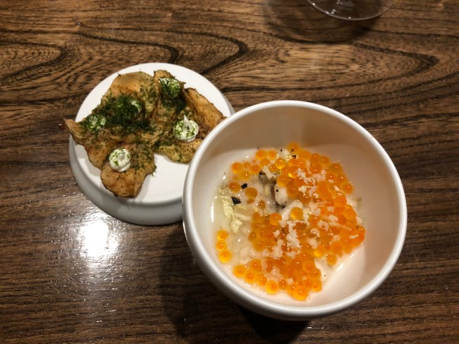 sunchoke; trout roe with grilled cabbage