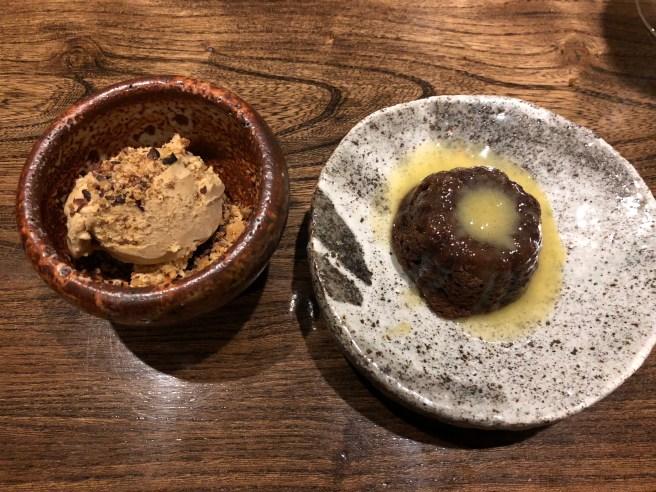 Persimmon cake and coffee ice cream