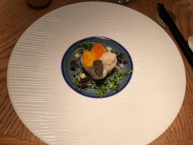 Four Seas Dumpling: Russian Golden Osetra, Sea Urchin, Bay Scallop, Trout Roe