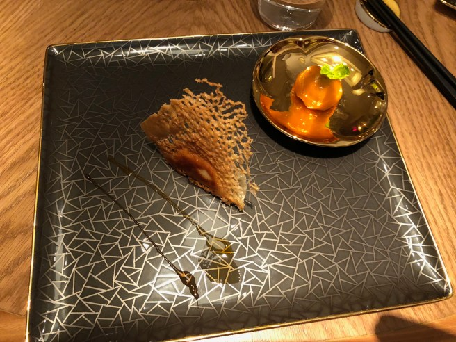 Foie Gras Potsticker: Black Sesame - Peanut Mochi