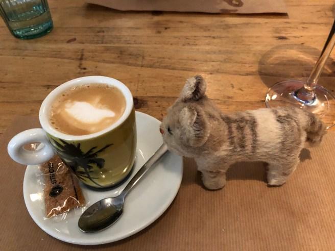 Frankie enjoyed a little coffee