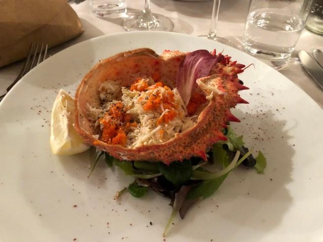 Steamed spider crab