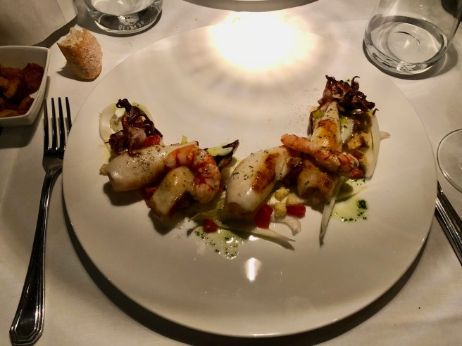 Grilled squids, raw-marinated shrimp on endive and cherry tomatoes