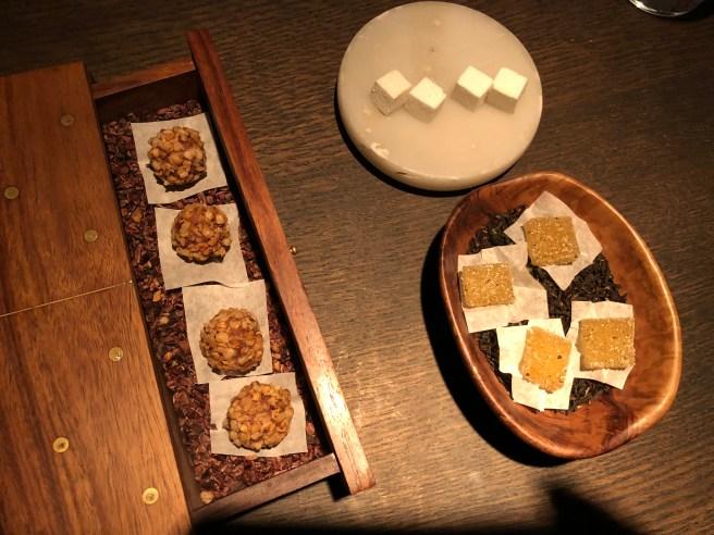 Milk chocolate and buckwheat; Jasmine pate de fruit; Chamomile marshmallow
