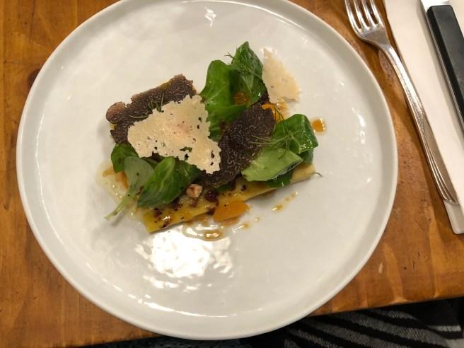Leeks, roe, truffle and hazelnut salad with cheese crisps