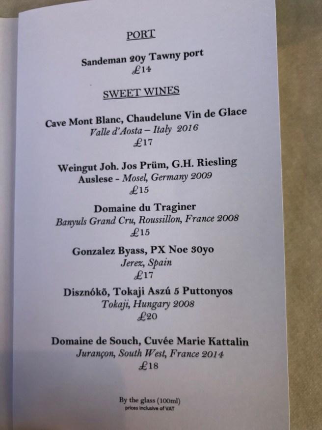 dessert drink menu