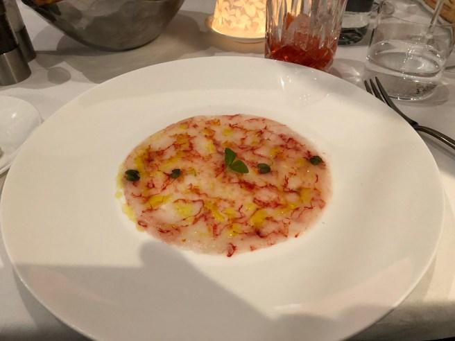 Red shrimp carpaccio