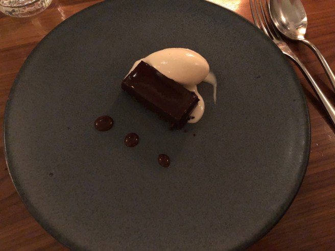 Bitter chocolate tart and reduced milk ice cream