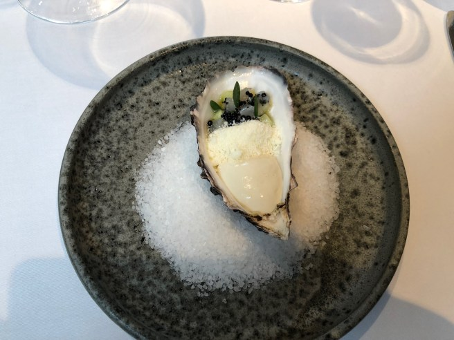Chantilly of oyster with cucumber, sea bream and frozen wasabi