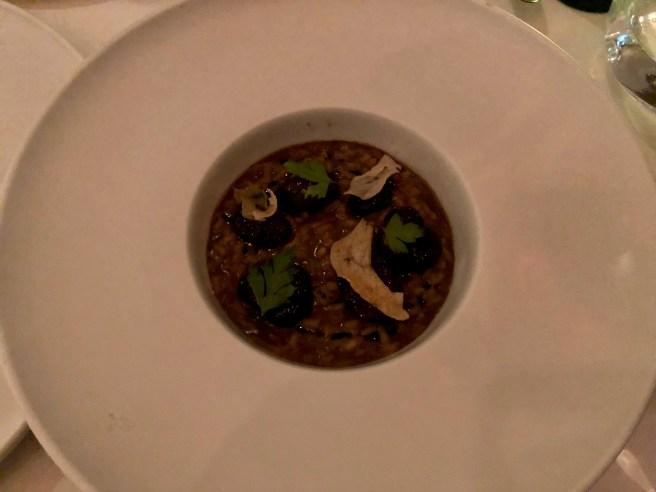 Braised Dorset snails, woodland mushroom rice, morels, garlic and parsleyk