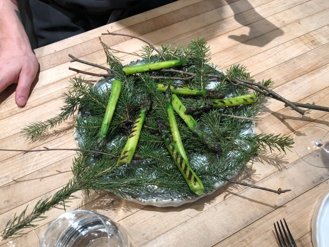 Grilled asparagus served during kitchen tour