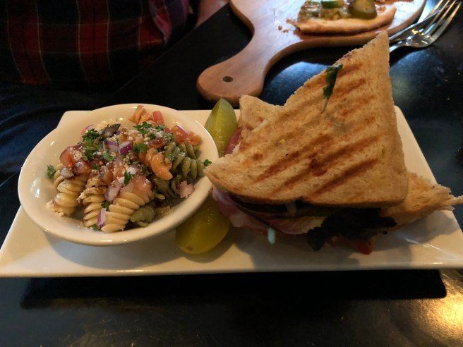 sandwich and pasta salad