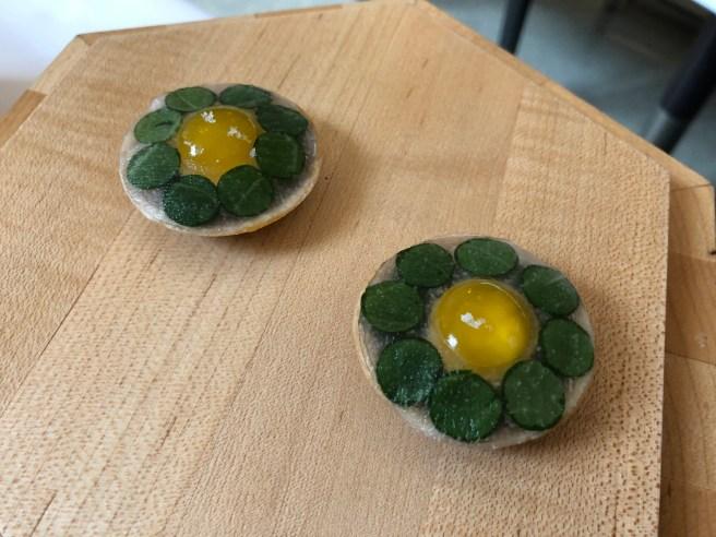 Quail egg with Radish and Mustard Greens