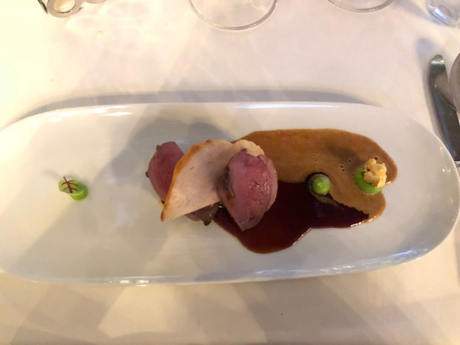 Duo of spring chicken and Bresse pigeon, cornbread, shallot confit and Albufera sauce