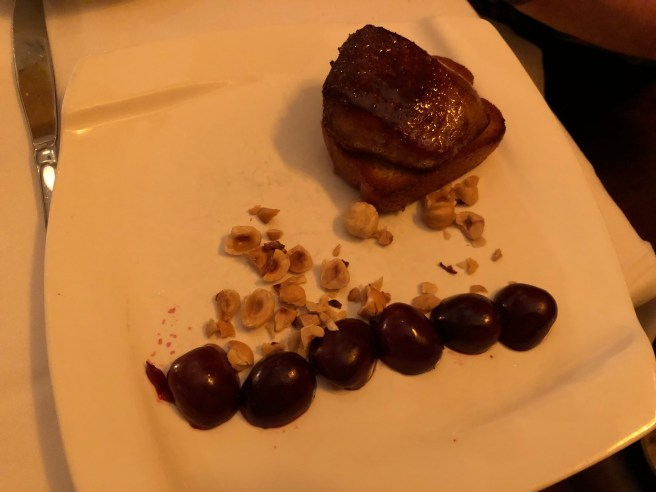 Hudson Valley Seared Foie Gras, toasted brioche, pickled cherries, hazelnuts