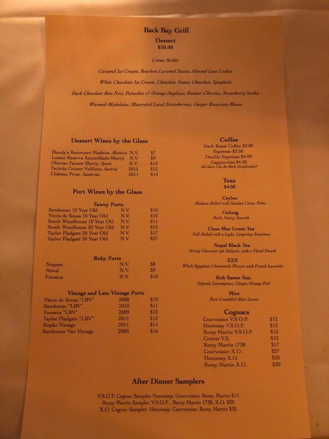 dessert and drinks menu