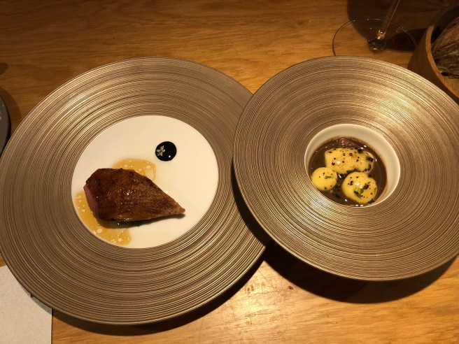 BBQ Anjou Squab with leek vinaigrette, stew of the rest, 'boiled potatoes', black truffles