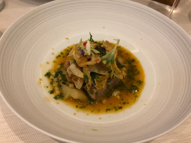 """Balfegó"" tuna toro with artichoke, bottarga, sherry vinegar"