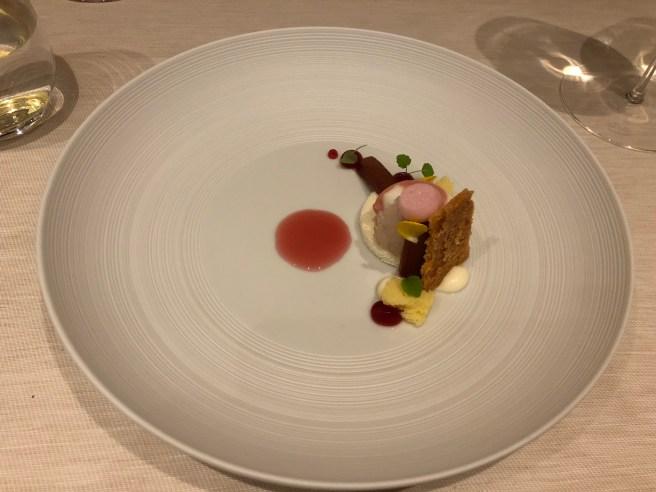 """Felchlin """"opus blanc"""" chocolate, rhubarb, greek yoghurt, champagne"""