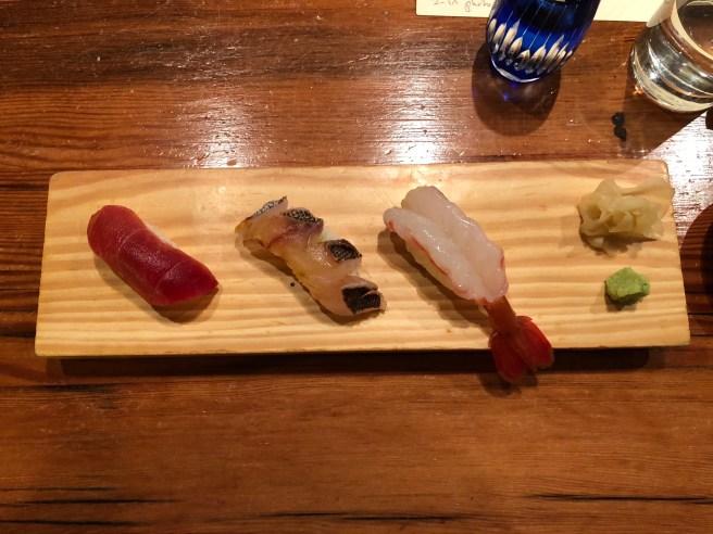 Nigiri - tuna belly, red fin bream, shrimp