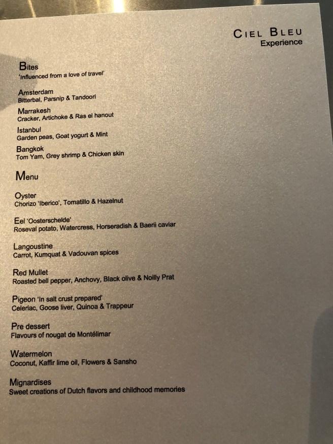 Ciel Bleu experience menu