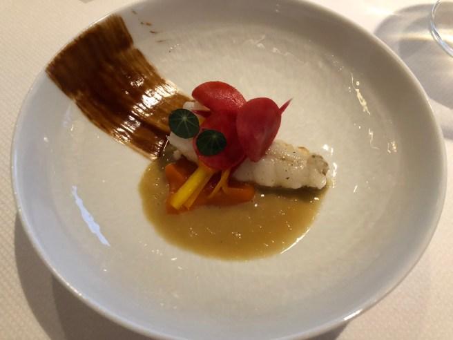 Langoustine: Carrot, kumquat and vadouvan spices