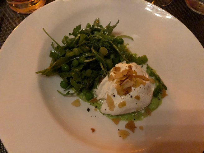 Burrata and green vegetable salad: English peas, asparagus, arugula, spinach