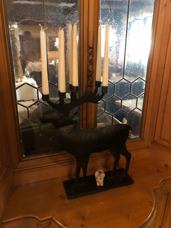 Frankie posed with the deer candle holder